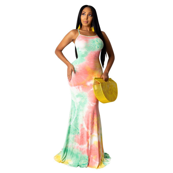 Tie-Dye Halter Lace Up Stacked Maxi Dress - Dots Clothing Store