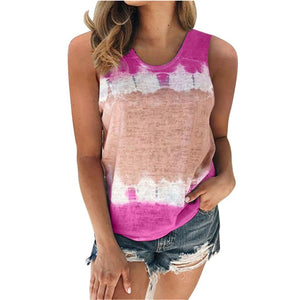 Tie-Dye Sleeveless Casual Tank Top - Dots Clothing Store