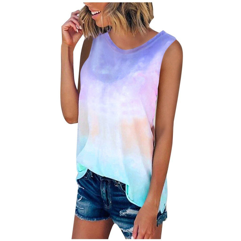 Tie-Dye Sleeveless Crew-Neck Tank Top - Dots Clothing Store