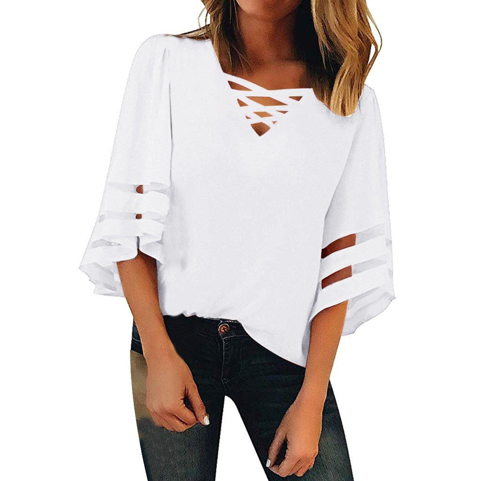 Transparent mesh stripes on sleeve loose blouse - Dots Clothing Store