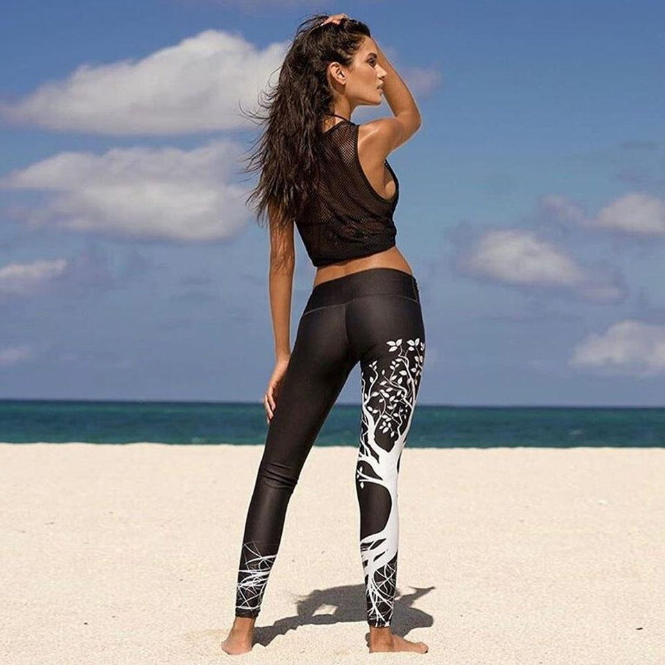 Tree print athletic leggings - Dots Clothing Store