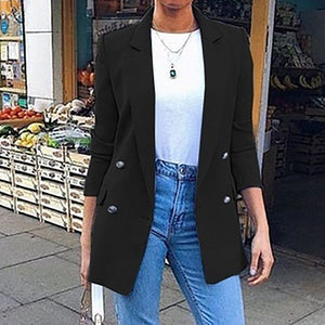 Turn-Down Collar Long Sleeve Jacket - Dots Clothing Store