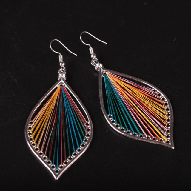 Colorful threads teardrop earrings