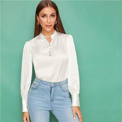 White Button Front Lantern Sleeve Satin Top - Dots Clothing Store