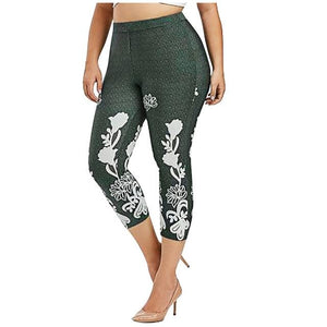 White floral print workout leggings - Dots Clothing Store