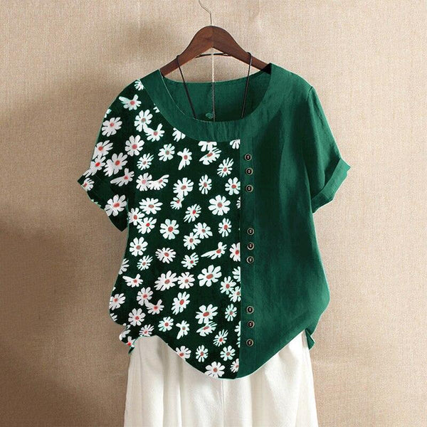 White Flower Loose Cotton Blouse - Dots Clothing Store