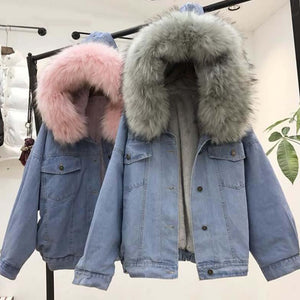 Women's Denim Jacket With Fur Winter Jeans Hooded Velvet Coat Female Faux Fur Collar 2019 Padded Warm Jackets Women Dropshipping - Dots Clothing Store