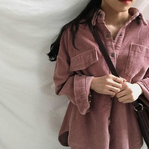 Women's Jackets Spring And Autumn Corduroy Jacket Female Coat With Pockets Plus Size Winter Women Streetwear Casual Clothing - Dots Clothing Store