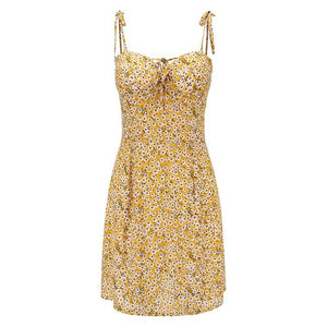 Yellow Floral Spaghetti Strap Mini Dress - Dots Clothing Store