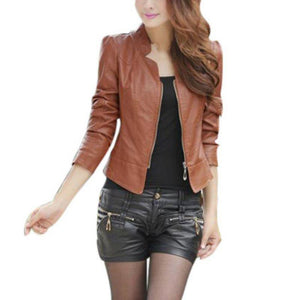 Zipper Biker Leather Jacket - Dots Clothing Store