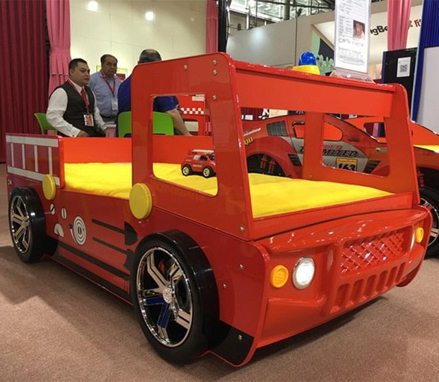 High Quality Young Children Furniture Little Boy Girl Red Fire Police Car Bed