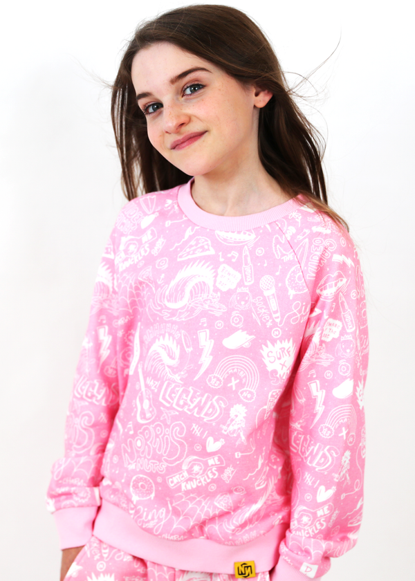 *TOP ONLY* Challenge Crew Jumper Pink / White Sketch