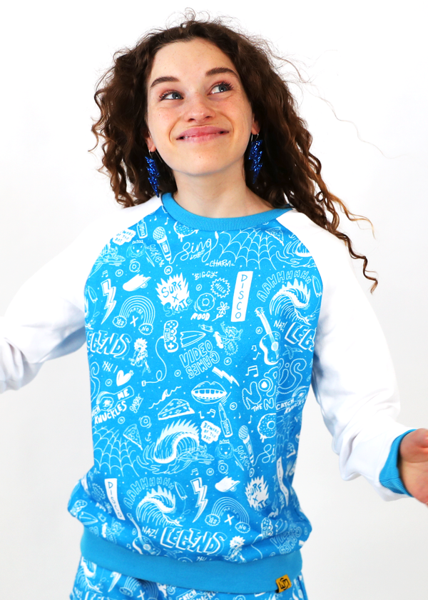 *TOP ONLY* Gaming Crew Jumper Blue/White Sketch