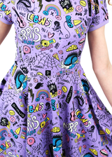 Indecisive Dress Purple / Multi Sketch Pattern