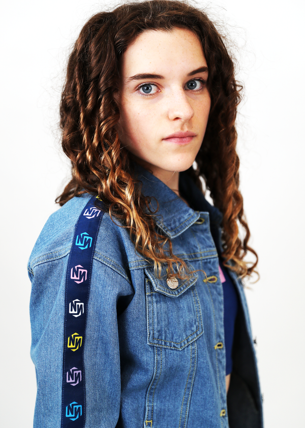 Relaxed Denim Jacket Multi Logo Repeat