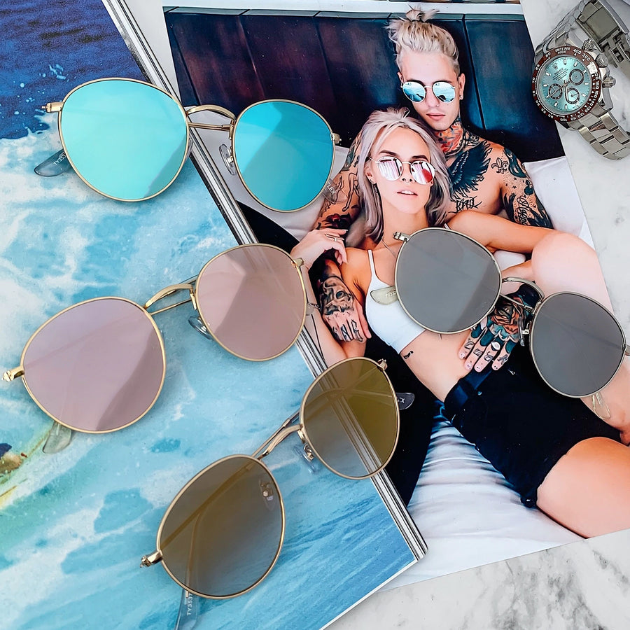 [4 color] round metal mirror sunglasses (53mm)