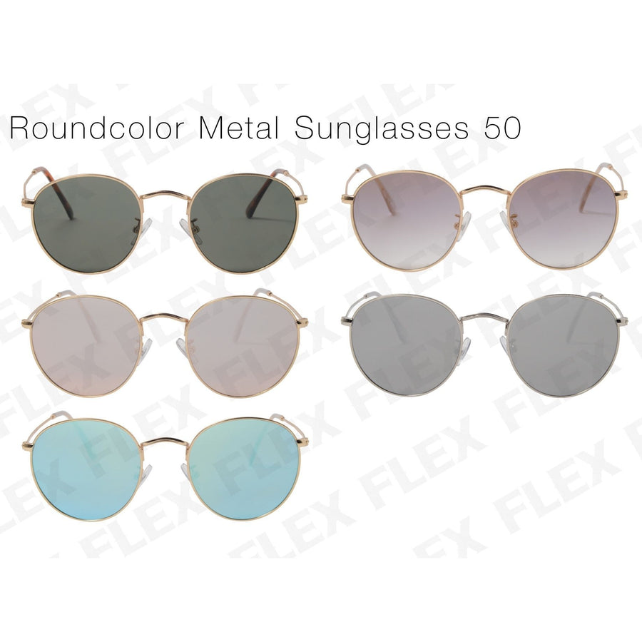 [5 color] round metal sunglasses (50mm)