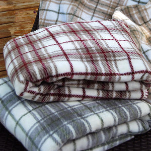 Denali Blanket  (White & Burgundy Plaid) -  FREE SHIPPING