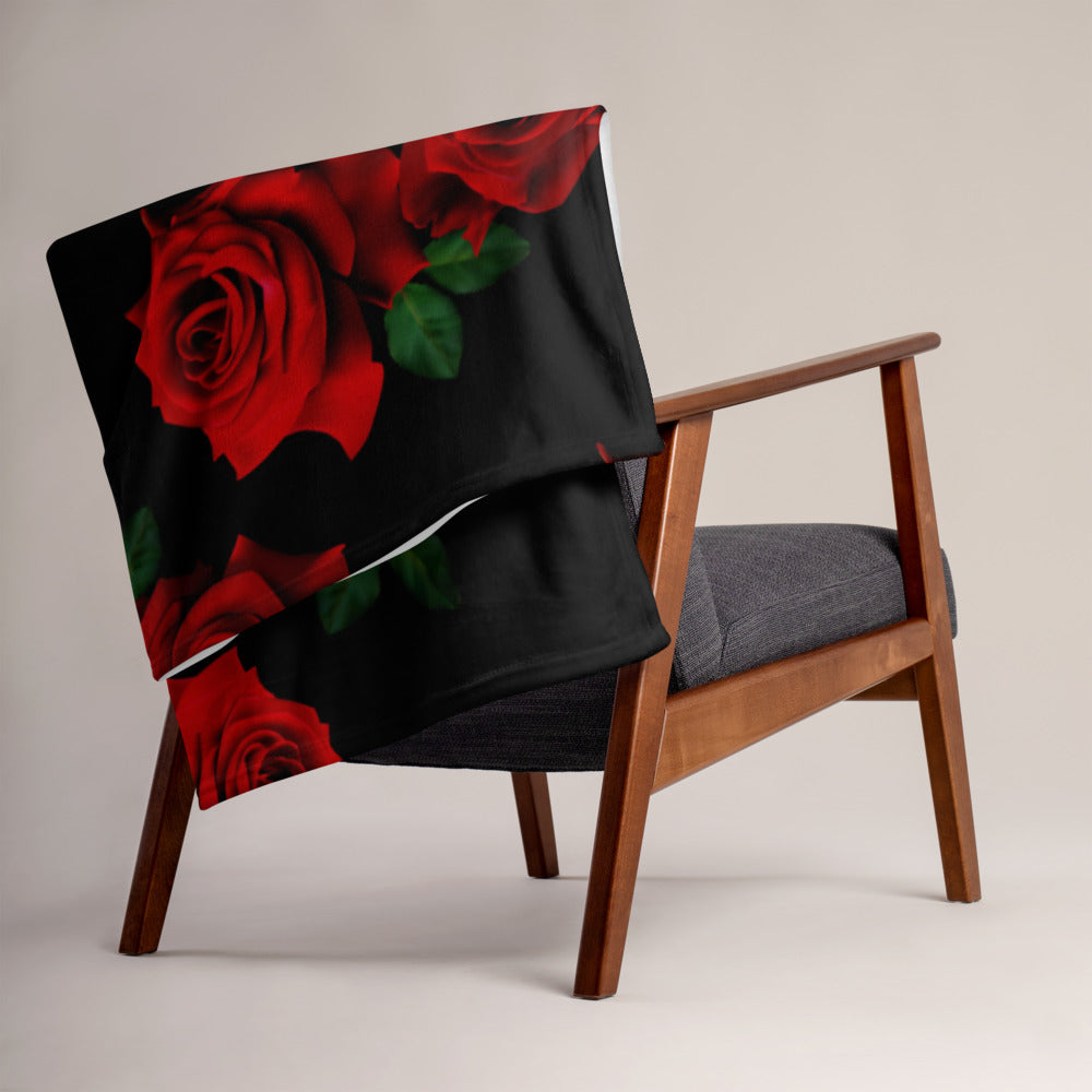 LaDrea Originals Blanket - Black & Rose