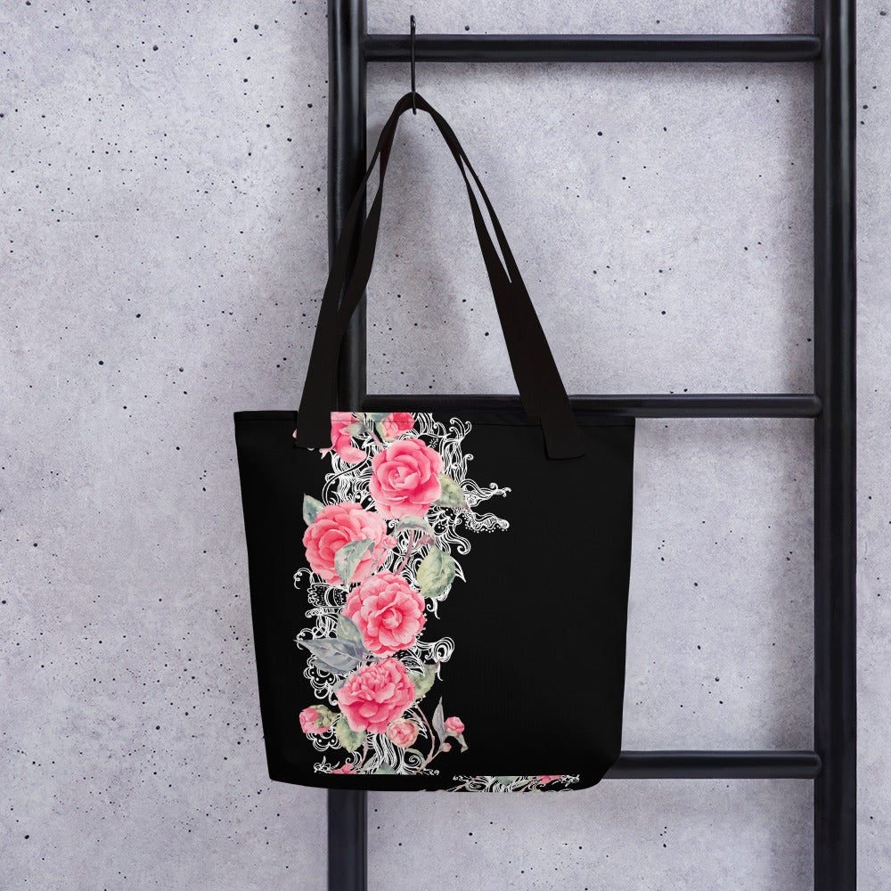 Tote bag - LaDrea Originals Black & Pink Floral