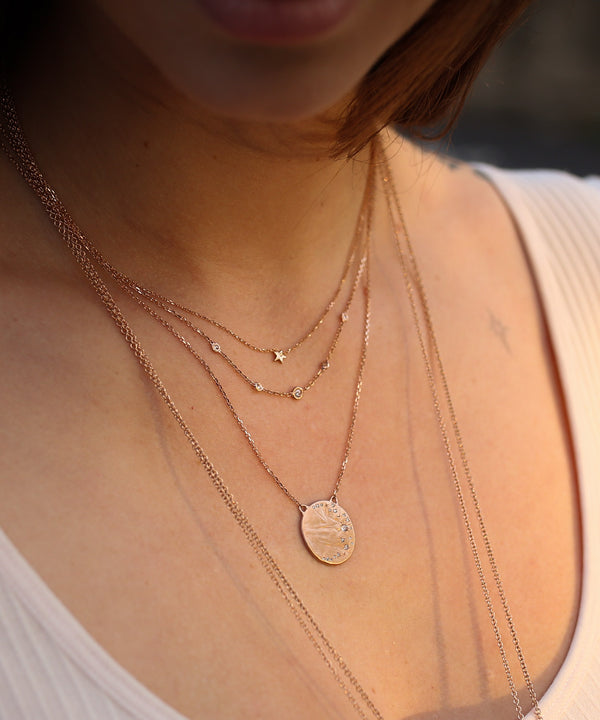 Diamond Moon Disc Necklace