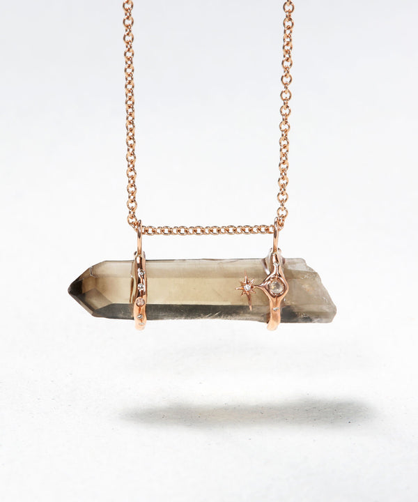 Horizontal Smoky Healing Stone Necklace