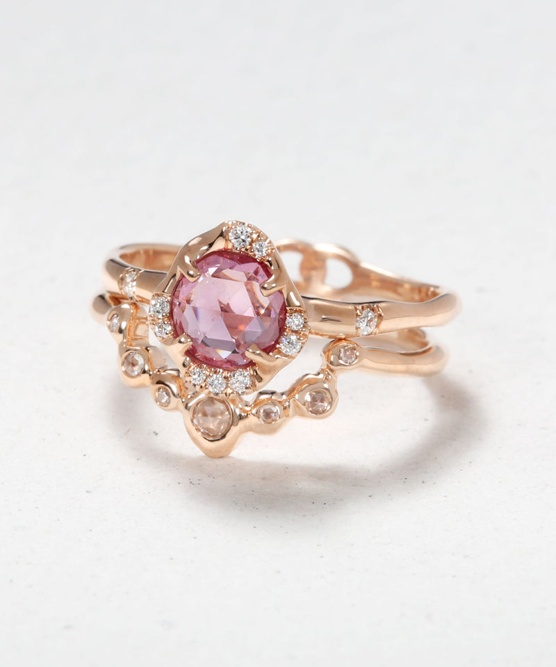 Infinite Love Pink Sapphire and Diamond Eye Stack