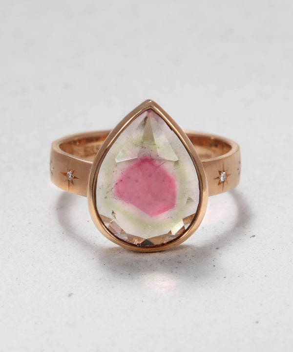 Peartine Ring with Watermelon Tourmaline