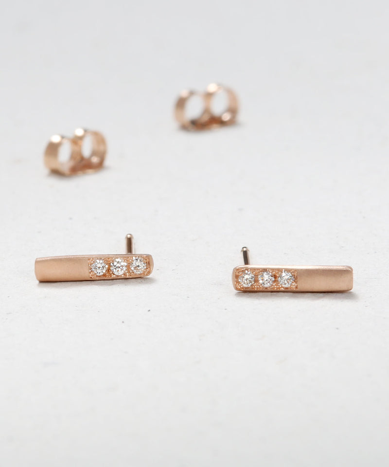 Short Pave Bar Earrings
