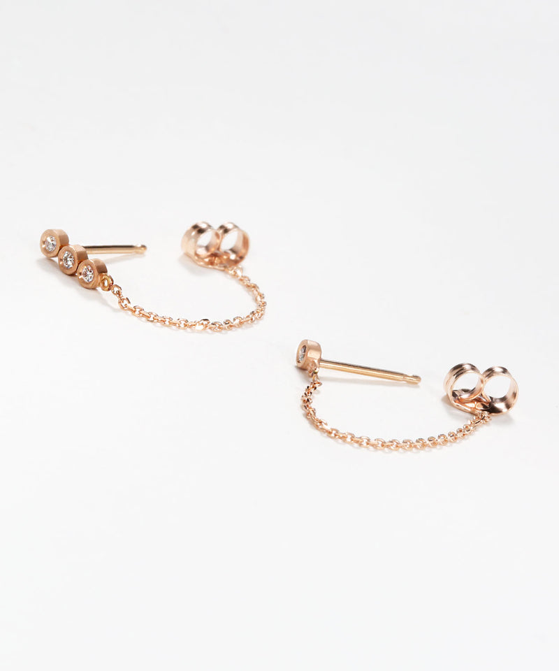 Teeny Diamond Chained Earrings