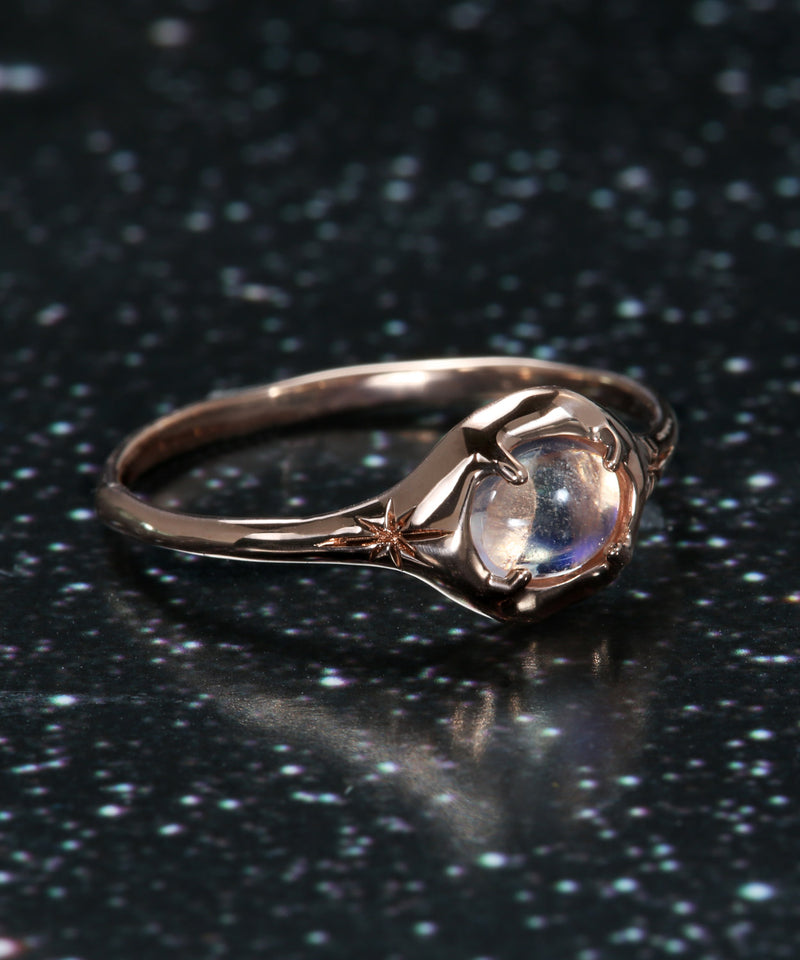Rainbow Moon Silhouette Ring