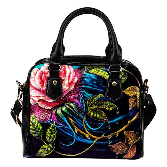 Floral Fashion Leather Shoulder Handbag Purse With Compartments
