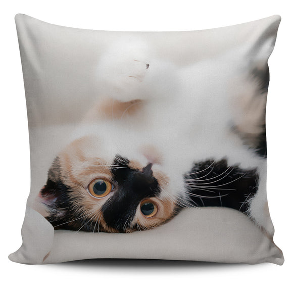 Silly Calico Cat Bed Throw Or Couch Pillow Cover