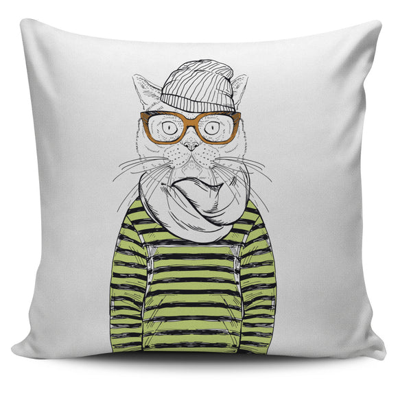 Kool Cat Wearing Glasses Bed Throw Or Couch Pillow Cover