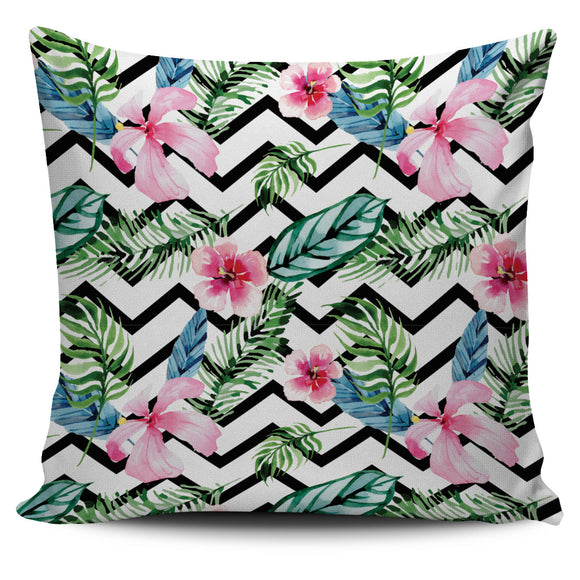 Tropical Floral Chevron Painted Bed Throw Or Couch Pillow Cover