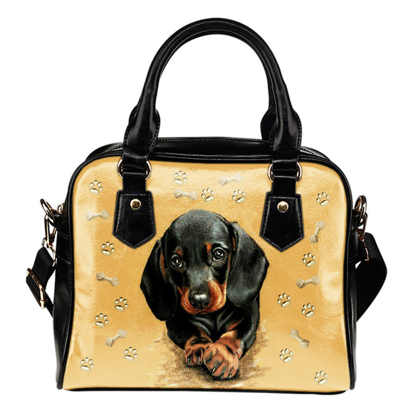Dachshund Fashion Leather Shoulder Handbag Purse With Compartments For Dog Lovers
