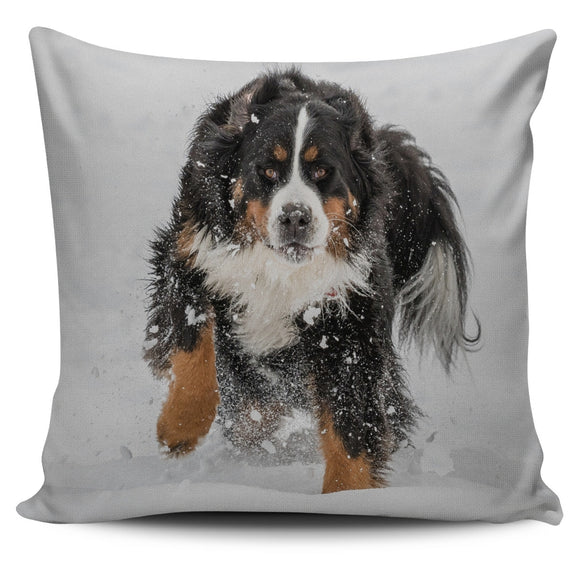 Playful Bernese Mountain Dog Bed Throw Or Couch Pillow Cover