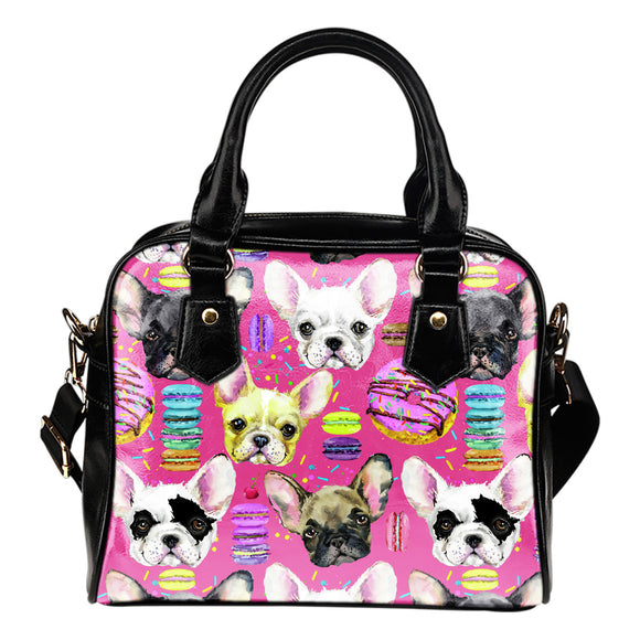 French Bulldog Fashion Leather Shoulder Handbag Purse With Compartments For Dog Lovers