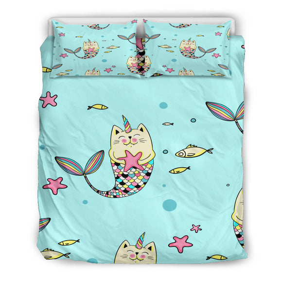 Mer-cat-icorn Duvet Cover Bedding Set For Cat Lovers