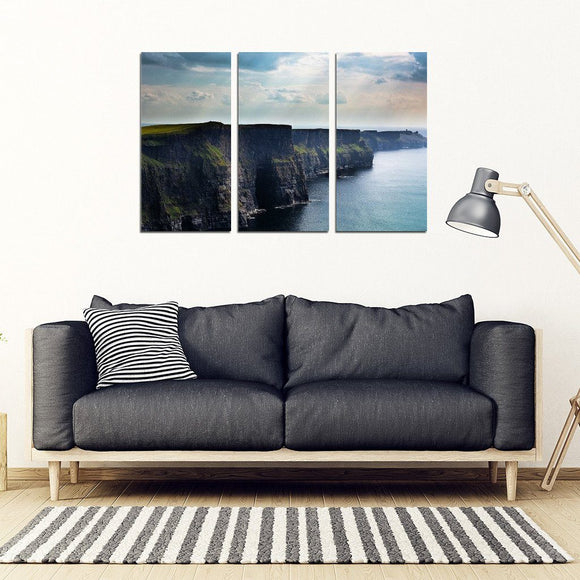 3 Piece Framed Canvas - Cliffs Of Moher Large 3 Piece Framed Canvas Set Wall Art