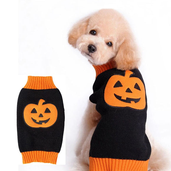Pullover Jumper Cute Halloween Knitted Pumpkin Dog Sweater