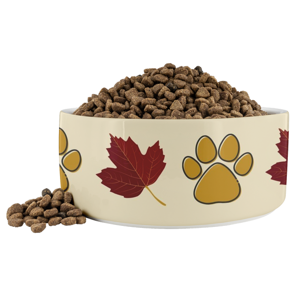 Ceramic Dog Bowl Fall Design 40 Ounce Pet Water or Food Dish Gift for Pet Parents