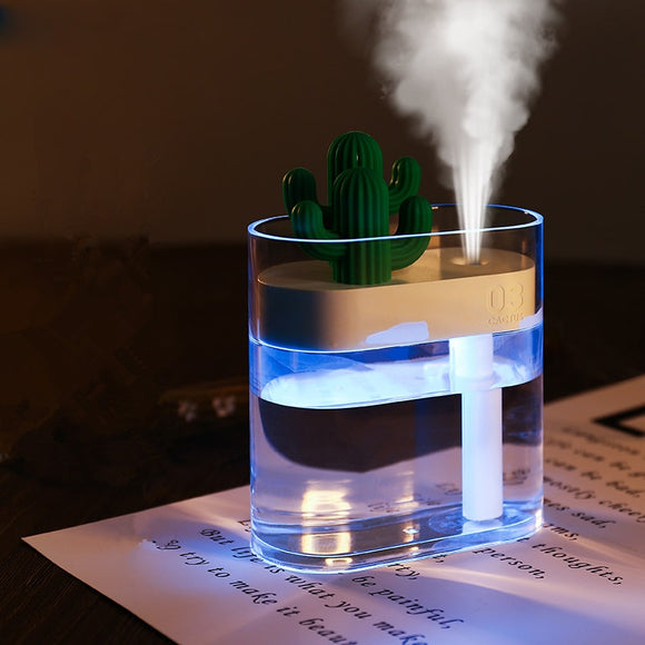 Clear Cactus Color Light USB Essential Oil Diffuser Ultrasonic Air Humidifier & Purifier