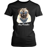 Stay Pawsitive Pug Women's High Quality Graphic T-Shirt