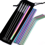 Metal Reusable Stainless Steel Drinking Straws Straight or Bent With Case and Cleaning Brushes