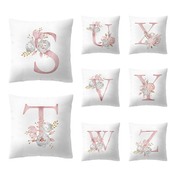 Alphabet Bed Throw or Couch Pillow Cover Floral Letter Monogram Pillow Cover