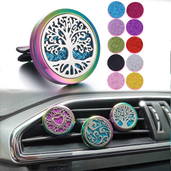 Car Diffusers - Aromatherapy Car Essential Oil Perfume Diffuser Stainless Steel Car Clip Locket