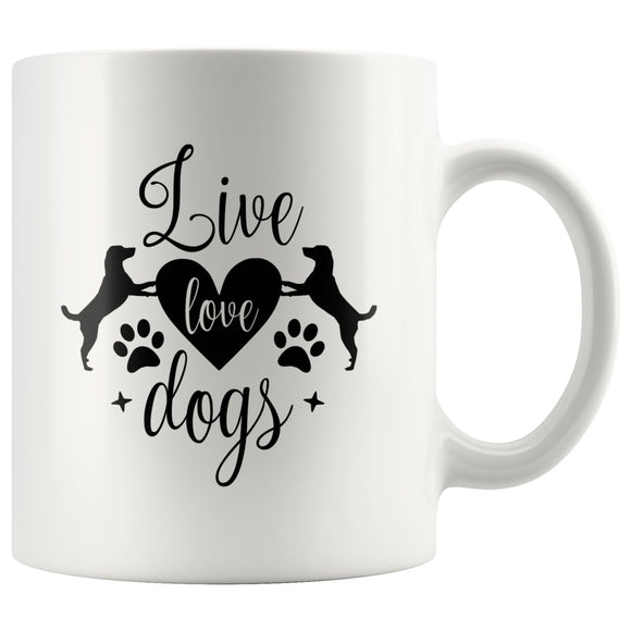 Drinkware - White Ceramic 11 Oz. Coffee Mug With Live Love Dogs Quote