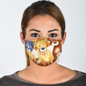 Face Masks - Adorable Puppy Protective Reusable Washable Fabric Face Mask With Filter Pocket For Dog Lovers