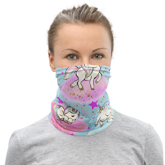 Face Masks - Neck Gaiter Face Scarf Multi-Functional Face Covering And Headband For Unicorn Lovers-Stars & Unicorns